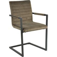 SIT SIT&CHAIRS Armlehnschwingstuhl, 2er-Set braun Gestell schwarz, Bezug braun