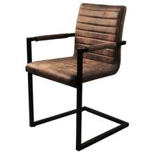 SIT SIT&CHAIRS Armlehnstuhl, 2er-Set Bezug braun, Gestell antikschwarz