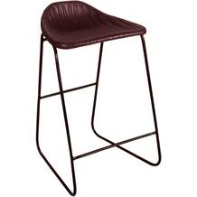 SIT SIT&CHAIRS Barhocker mit Streifensteppung Gestell schwarz, Bezug dunkelbraun