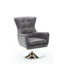 SIT SIT&CHAIRS Sessel drehbar und höhenverstellbar Gestell silber, Bezug antikgrau