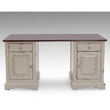 SIT-Möbel SPA Schreibtisch 2 Holztüren, 2 Schubladen taupe mit messingfarbenen Griffen