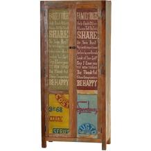 SIT SPEEDWAY Schrank 2 Türen, 1 Kleiderstange, 3 Böden natur + bunt lackiert