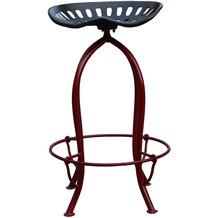 SIT THIS & THAT Barhocker aus einem recycelten Traktorsitz Gestell rot, Sitz Roheisen