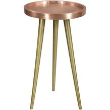 SIT THIS & THAT Beistelltisch 37x37 cm Platte mit Kupfer beschlagen, Gestell messingfarbig