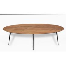 SIT THIS & THAT Couchtisch 150x60 cm oval Platte natur, Beine schwarz