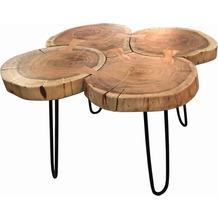 SIT THIS & THAT Couchtisch 4 Baumscheiben Platte natur, Beine antikschwarz