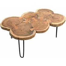 SIT THIS & THAT Couchtisch 6 Baumscheiben Platte natur, Beine antikschwarz