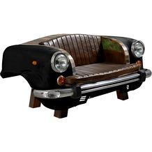 """SIT THIS & THAT Sofa Recycelte Autofront inklusive Sitz- und Rückenkissen aus Kunstleder """"Vintage"""" schwarz, Kissen braun"""