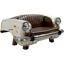 """SIT-Möbel THIS & THAT Sofa Recycelte Autofront inklusive Sitz- und Rückenkissen aus Kunstleder """"Vintage"""" creme"""