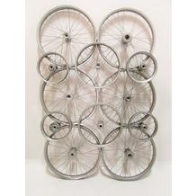SIT THIS & THAT Wand-Dekoration 6 große + 6 kleine Fahrradfelgen silbern seidenmatt