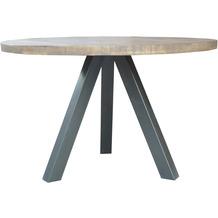 SIT TISCHE & BÄNKE Tisch 120x120 cm  Platte natur, Beine antiksilber