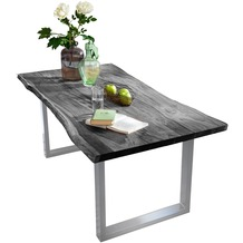 SIT TISCHE Tisch 140 x 80 cm, Platte antikgrau, Gestell silbern mit Baumkante wie gewachsen Platte antikgrau lackiert, Gestell antiksilbern lackiert