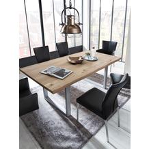 SIT-Möbel TISCHE Tisch 140x80 cm, Wildeiche, silbernes Gestell mit Baumkante wie gewachsen Platte natur, Gestell antiksilbern