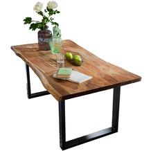 SIT-Möbel TISCHE Tisch 180 x 90 cm mit Baumkante wie gewachsen Platte nussbaumfarbig, Gestell antikschwarz