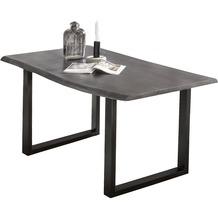SIT TISCHE Tisch 180 x 90 cm, Platte antikgrau, Gestell schwarz mit Baumkante wie gewachsen Platte antikgrau lackiert, Gestell anitkschwarz lackiert