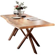 SIT TISCHE Tisch 180x100 cm, Akazie natur mit Baumkante wie gewachsen Platte natur, Gestell antikbraun