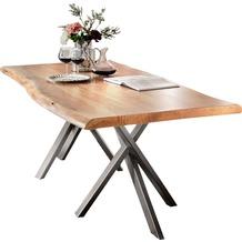 SIT TISCHE Tisch 180x100 cm, Akazie natur mit Baumkante wie gewachsen Platte natur, Gestell antiksilbern
