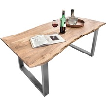 SIT TISCHE Tisch 180x100 cm, Akazie natur Platte natur, Gestell antiksilbern