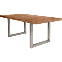 SIT TISCHE Tisch 180x100 cm, Balkeneiche natur Platte, Gestell antiksilbern