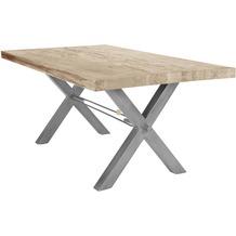 SIT TISCHE Tisch 180x100 cm, Balkeneiche white-wash Platte, X-Gestell antiksilbern