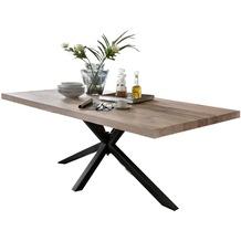 SIT TISCHE Tisch 180x100 cm, Balkeneiche white wash  Platte white wash, Gestell antikschwarz