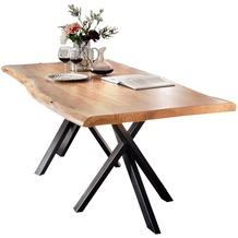 SIT TISCHE Tisch 180x90 cm, Akazie natur mit Baumkante wie gewachsen Platte natur, Gestell antikschwarz