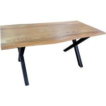 SIT-Möbel TISCHE Tisch 200 x 100 cm, Gestell schwarz mit Baumkante wie gewachsen Platte antikfinish, Gestell schwarz lackiert