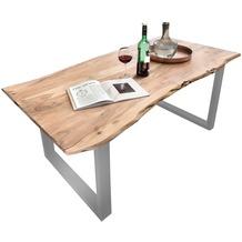 SIT-Möbel TISCHE Tisch 200 x 100 cm mit Baumkante wie gewachsen Platte antikfinish, Gestell silber lackiert