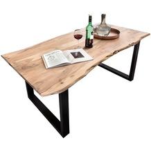 SIT-Möbel TISCHE Tisch 200 x 100 cm mit Baumkante wie gewachsen Platte antikfinish, Gestell schwarz lackiert