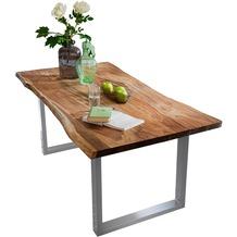 SIT-Möbel TISCHE Tisch 200 x 100 cm mit Baumkante wie gewachsen Platte nussbaumfarbig, Gestell silber lackiert