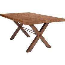 SIT TISCHE Tisch 200x100 cm, Balkeneiche natur Platte, X-Gestell antikbraun