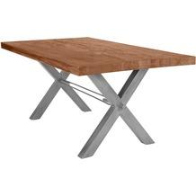 SIT TISCHE Tisch 200x100 cm, Balkeneiche natur Platte, X-Gestell antiksilbern