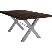 SIT TISCHE Tisch 220x100 cm, Balkeneiche carbon-grau Platte, X-Gestell antiksilbern