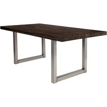 SIT TISCHE Tisch 220x100 cm, Balkeneiche carbon-grau Platte carbon-grau, Gestell antiksilbern