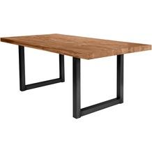 SIT TISCHE Tisch 220x100 cm, Balkeneiche natur  Platte natur, Gestell antikschwarz