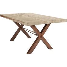 SIT TISCHE Tisch 220x100 cm, Balkeneiche white-wash Platte white-wash, X-Gestell antikbraun