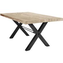 SIT TISCHE Tisch 220x100 cm, Balkeneiche white-wash  Platte white-wash, Gestell antikschwarz