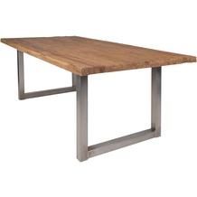 SIT TISCHE Tisch 220x100 cm, recyceltes Teak natur Platte natur, Gestell antiksilbern