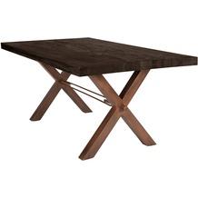 SIT TISCHE Tisch 240x100 cm, Balkeneiche carbon-grau Platte, X-Gestell antikbraun