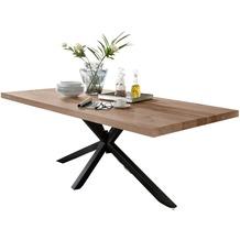 SIT TISCHE Tisch 240x100 cm, Balkeneiche natur geölt  Platte natur, Gestell antikschwarz