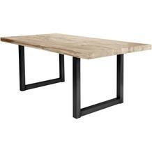 SIT TISCHE Tisch 240x100 cm, Balkeneiche white-wash  Platte white-wash, Gestell antikschwarz