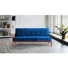SIT 4SOFA Schlafsofa, blau 3-Sitzer, mit Relaxfunktion Gestell kirschbaumfarbig, Bezug blau