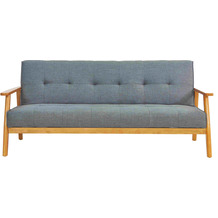 SIT 4SOFA Schlafsofa, dunkelgrau 3-Sitzer, mit Relaxfunktion Gestell natur, Bezug dunkelgrau