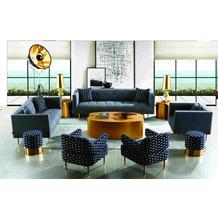 SIT 4SOFA Sofa 3-Sitzer inklusive 2 Kissen Bezug grau, Beine goldfarbig