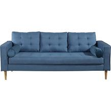 SIT 4SOFA Sofa 3-Sitzer inklusive 2 Kissenrollen, blau Bezug blau, Beine natur