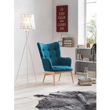 SIT &CHAIRS Sessel blau Gestell natur, Bezug blau
