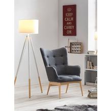 SIT &CHAIRS Sessel dunkelgrau Gestell natur, Bezug dunkelgrau