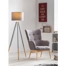 SIT &CHAIRS Sessel hellgrau Gestell natur, Bezug hellgrau