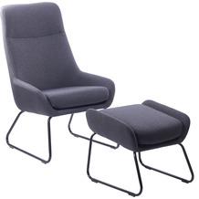 SIT &CHAIRS Sessel mit Fußhocker anthrazit Gestell schwarz, Bezug anthrazit