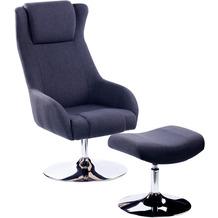 SIT &CHAIRS Sessel mit Fußhocker anthrazit Gestell verchromt, Bezug anthrazit